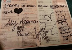 Aly, McKayla, and Jordyn signed Billy's menu